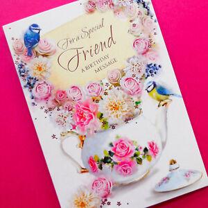 Special Friend Birthday Card Flowers Teapot Bird Female Women Ladies Woman