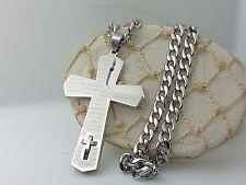 Collana Ciondolo Croce Argento Catena Gioielli Unisex Crocifisso Padre nostro