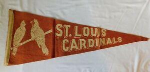 Rare 1940s ST LOUIS CARDINALS Pennant Flag - 2 Birds Baseball Sports Missouri