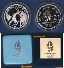 Coffret Albertville J.O Hiver 100 Francs 1990 BE FDC Ski Acrobatique Chamois