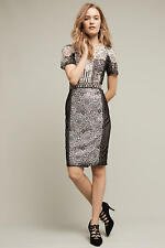 New Anthropologie Byron Lars Lace Melange Pencil Dress size 6 Embellished B&W