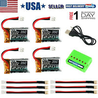 4pcs 3.7V 220mAh LiPo Battery 35C with Charger for  RC Quadcopter Drone Eachine
