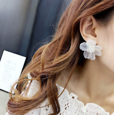 Fashion Women Petals Alloy Resin Stud Earrings Big White Flower Charm Jewelry