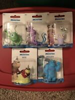 """New Set Of 5 Disney Monsters Inc. Figures~2.5-3"""" ROZ RANDALL SULLEY Cake Toppers"""