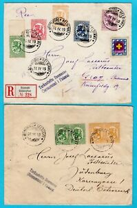FINLAND 2 censored covers 1919 Helsingfors-Helsinki to Austria