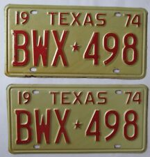 Texas 1974 License Plate PAIR - NICE QUALITY # BWX-498