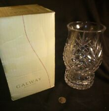 NEW VINTAGE-GALWAY IRISH CRYSTAL HURRICANE CANDLE HOLDER-2 PIECE-DETACHABLE BASE