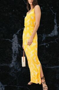 BNWT V By Very Channel Waist Yellow Floral Jersey Beach Maxi Dress Size 16