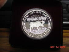 1985 Canada Canadian Moose Silver Dollar With Case Nice Proof Cameo