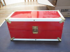 Vintage Vogue Ginny red wardrobe/foot locker with contents-2 oufits inc.-excond