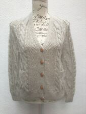Aran Cardigan UK 10 Knit 38 Hand Tweed Cable Fishermans Button Cream Lightweight