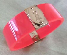 FOSSIL Brand Gold Stainless Steel Neon Orange Bangle Bracelet - $58 NEW