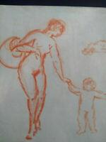 Nus dessin original sanguine Paris Art Déco 1920 croquis femmes curiosa