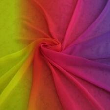 2 Yards Yellow Rose Purple Gradual Shade Chiffon Fabrics Dance Dress Material