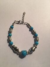New Tibet silver AND TURQUOISE beadS WITH FISH BRACELET-B408