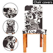 6x Removable Elastic Stretch Slipcovers Short Dining Room Chair Seat Cover Décor
