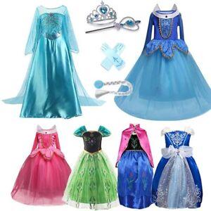 Prinzessin Kleid  Für Mädchen Kinder Party Elsa Anna Cinderella Kostüm Cosplay