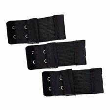 3pcs Woman 2 x 2 Hook and Eye Tape Elastic Extension Bra Extender Black U4O3