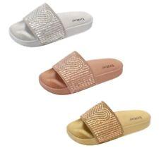 Womens Ladies Slides Heart Rhinestones Glam Slide On Shoes Sandals