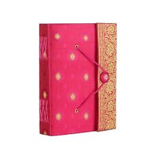 Sari Fabric Journal Notebook Diary, Cerise, 14cm x 18.5cm Unlined Recycled Paper