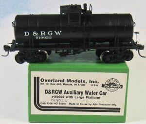 OVERLAND   D&RGW Aux Water Car   OMI-1306  HO Brass AJIN Korea   ***EXCELLENT***