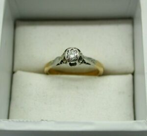 Vintage 1940s 18ct Solid Gold And Platinum Diamond Solitaire Ring