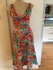 Ladies Floral BASQUE Summer Dress Size 10 Cross Over Full Skirt Cotton Sleeveles