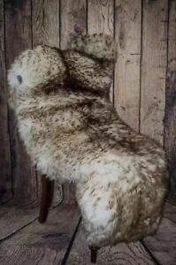Wolf Tipped Dark Sheepskin Rug Large Size 130-140 Cm!!Thick Soft Fur !!!