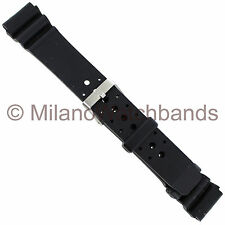 20mm Milano Black Rubber Fits Casio Mens Sport Watch Band