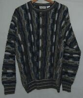 Vintage Norm Thompson Mens 3D Texture Sweater Gray White Striped Blue Wool Italy