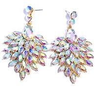 AB Chandelier Earrings Rhinestone Crystal 2.6 in