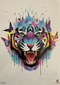 Temporary Tattoo Animal Lion Tiger Body Art Fake Waterproof