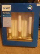 Philips Warm White LED Candolier with Timer 3-tier Battery Bronze New