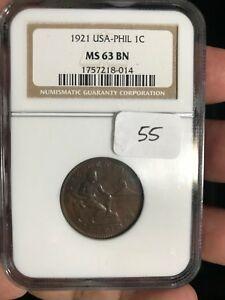 US PHILIPPINES 1921 ONE CENTAVO NGC MS 63 BN