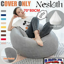Large Bean Bag Chair Sofa Seat Cover Indoor Lazy Lounger Gaming Adult Kids Home