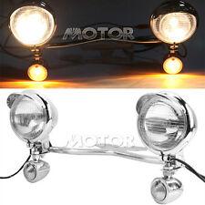 Chrome Front Spotlight Passing Mount Turn Light Bar For Harley Touring Road King