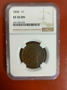 1848 Braided Hair Large Cent NGC XF-45 BN