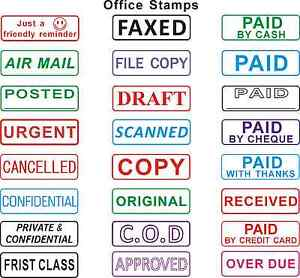 Office Self Inked Rubber Stamps Office Stamp Praise Copy Received Paid Urgent