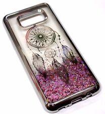 For Samsung Galaxy S8 SILVER Dream Catcher Pink Glitter Liquid Water Skin Case