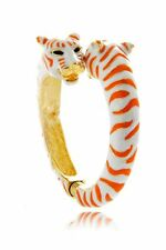 Kenneth Jay Lane Coral/White Tiger Cuff Bangle Bracelet