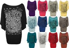 New Plus Size Womens Tiger Glitter Print Ladies Batwing Sleeve T-Shirt Top 12-30