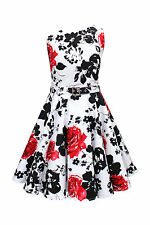 Boat Neck 50's, Rockabilly Party Floral Dresses for Women