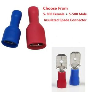 Choose From 5 Pairs Insulated Spade Connector Crimp Terminals For Wring Cable