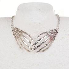 Vintage Style Skull Hand Skeleton Choker Necklace Pendant Statement Chain
