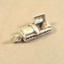 .925 Sterling Silver 3-D COFFIN CHARM NEW Casket Mortician Halloween 925 Wk39