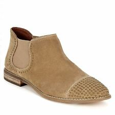 TWIGGY for M&S Real SUEDE Low Heel CHELSEA ANKLE BOOTS ~ Size 4 ~ SAND