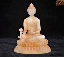 "9""Tibetan Buddhism White jade carved sit lotus Shakyamuni Medicine Buddha statue"