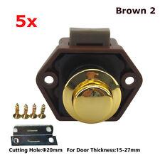 5x Push Button Catch Pop Up Locks Knob Latch Camper RV Motorhome Cabinet Brown 2