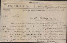 1886 LONDON & CARLISLE, PEEK, FREAN & CO. BISCUIT MANUFACTURING, DRUMMOND RD.