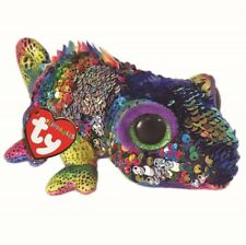 "2019 TY 6"" Flippables KARMA Chameleon Beanie Boos Sequins Plush w/ Ty Heart Tags"